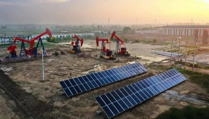 Photovoltaic power in Shengli oil field - Image: Sinopec