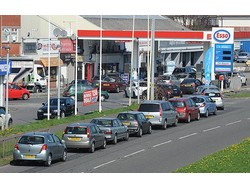 Panic-buying of fuel by UK motorists has caused a backlog of  two to three days' supply