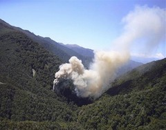 Smoke from a ventilation shaft after the Pike River incident