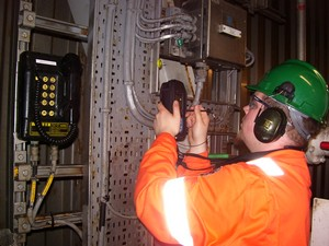 Scanning an RFID tag with the PDA reader during an ATEX/DSEAR Inspection using Arnlea's Inspect-EX software