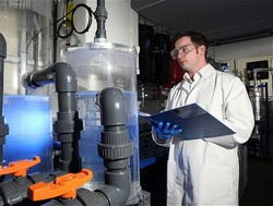 An Air Fuel Synthesis team member supervising the petrol from air process