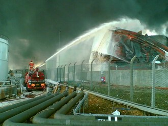Fire at Buncefield oil terminal. Courtesy: Hertfordshire Fire Service